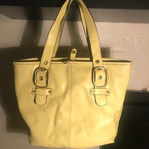Banana Republic Yellow/Lime Leather Tote